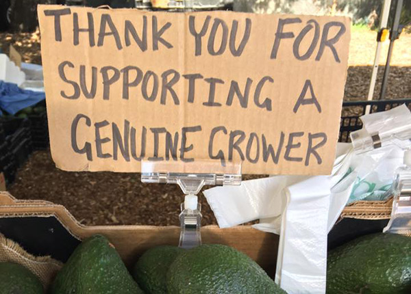 Sign thanking for supporting local growers